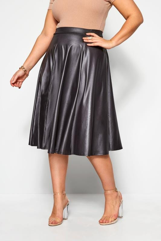 Plus Size Midi Skirts LIMITED COLLECTION Black Leather Look Midi Skirt