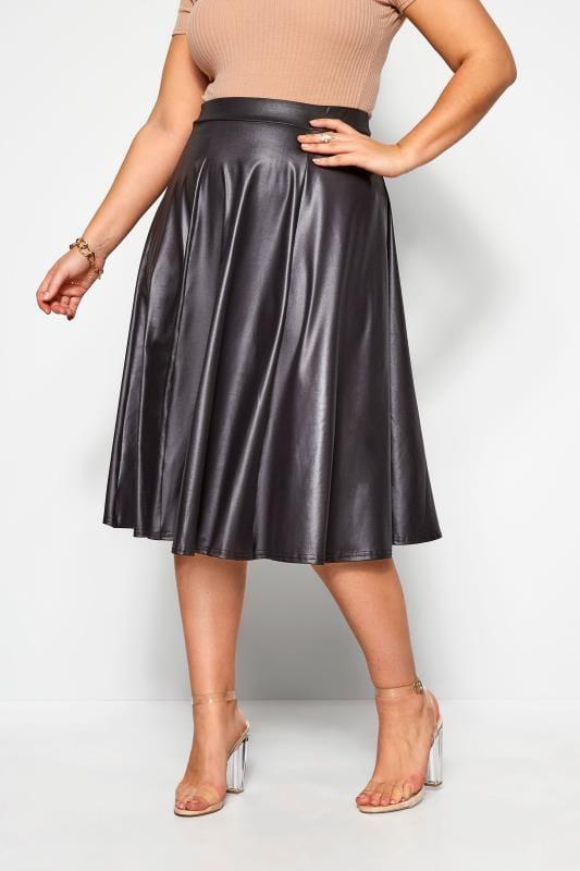 Большие размеры | Midi Skirts LIMITED COLLECTION Black Leather Look Midi Skirt