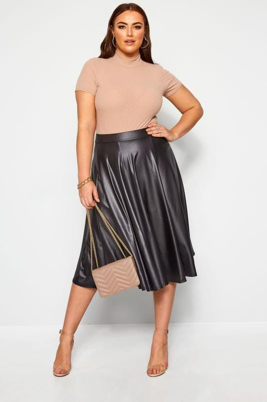 LIMITED COLLECTION Black Leather Look Midi Skirt