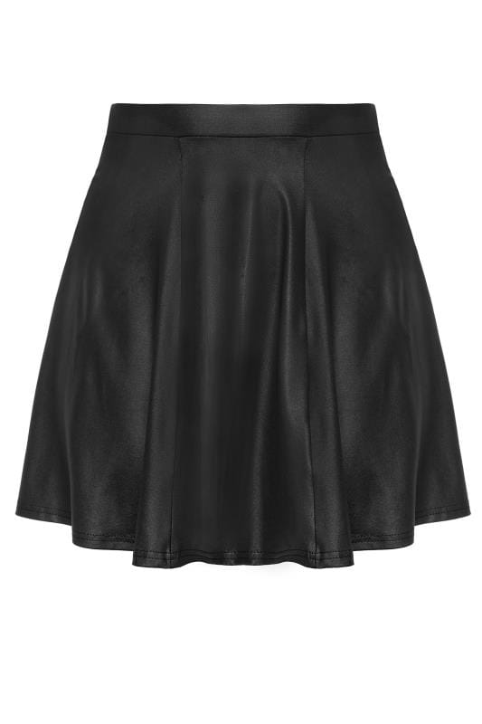 Jupes Patineuses Grande Taille LIMITED COLLECTION Black Leather Look Skater Skirt