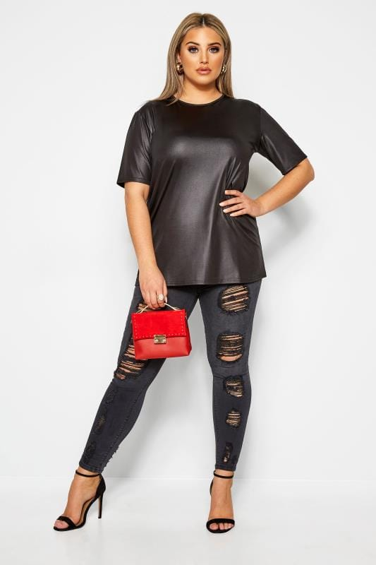 LIMITED COLLECTION Black Leather Look Top