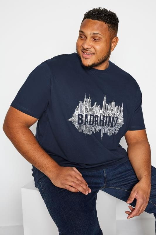 T-Shirts Grande Taille BadRhino Navy City Scape Graphic Print T-Shirt