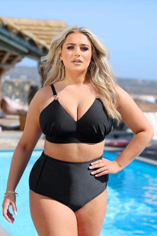 Black Clasp Detail Bikini Top