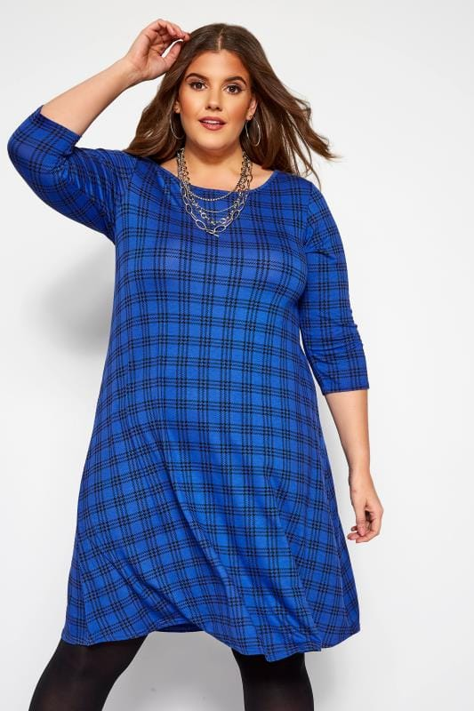 Plus Size Swing Dresses Cobalt Blue Check Swing Dress