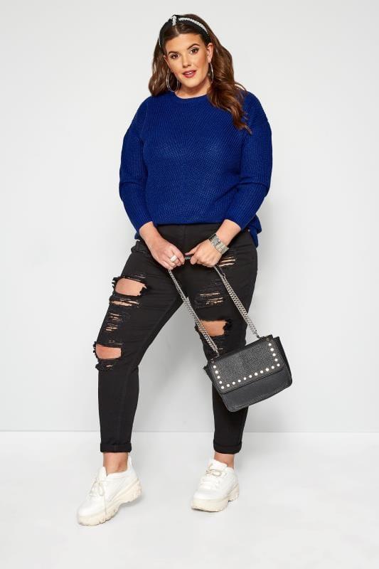 Cobalt Blue Chunky Knitted Jumper