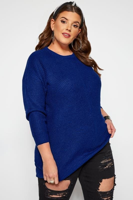 Plus Size Jumpers Cobalt Blue Chunky Knitted Jumper