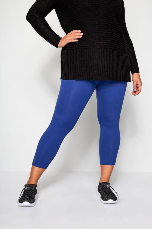 Plus Size Cropped Leggings Cobalt Blue Cropped Leggings