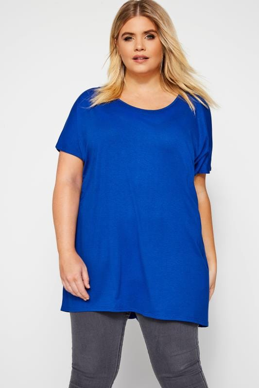 Plus Size Dipped Hem Tops Cobalt Blue Dipped Hem Top