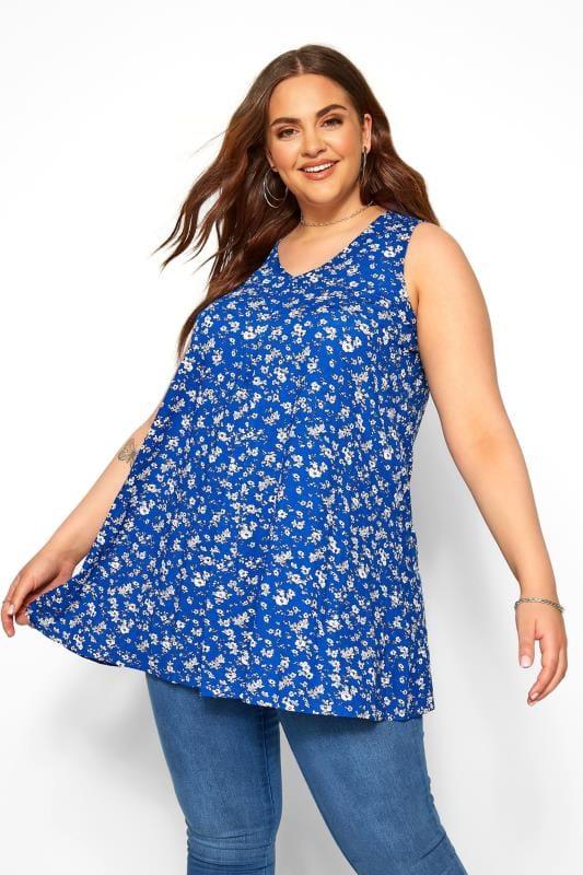Cobalt Blue Ditsy Floral Swing Vest Top