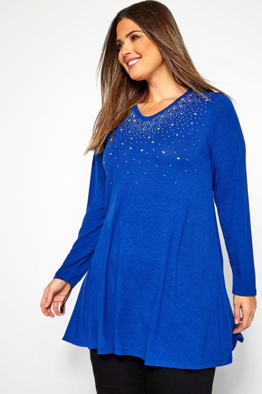 Plus Size Day Tops Cobalt Blue Embellished Swing Top