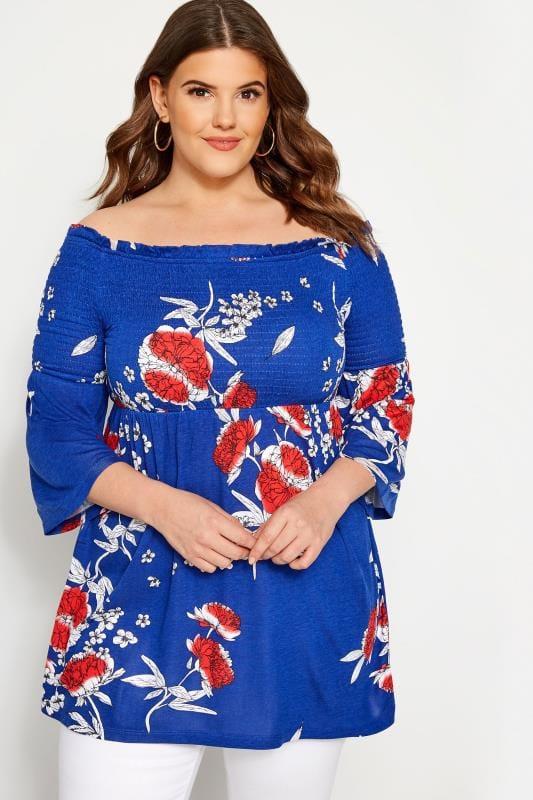 Plus Size Bardot & Cold Shoulder Tops Cobalt Blue Floral Shirred Bardot Top