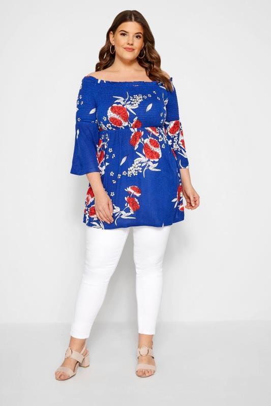 Cobalt Blue Floral Shirred Bardot Top