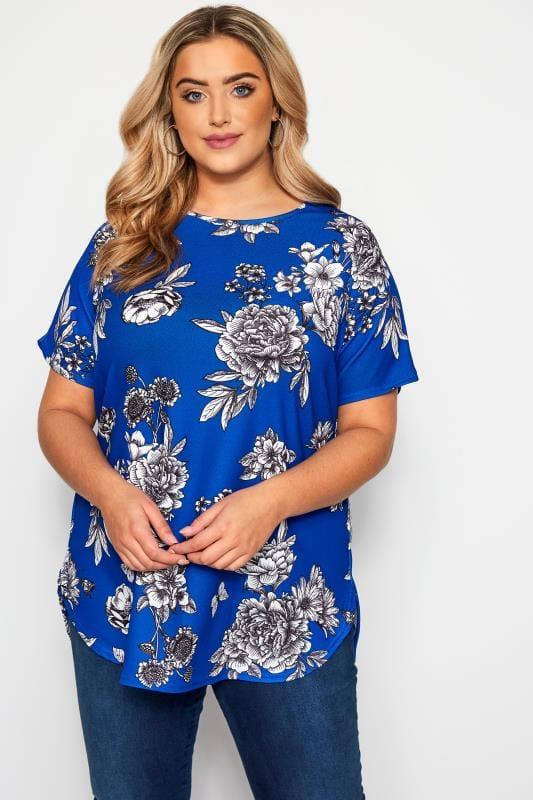 Plus Size Floral Tops Cobalt Blue Floral Top
