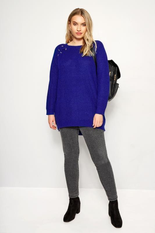 Cobalt Blue Knitted Lace Up Jumper