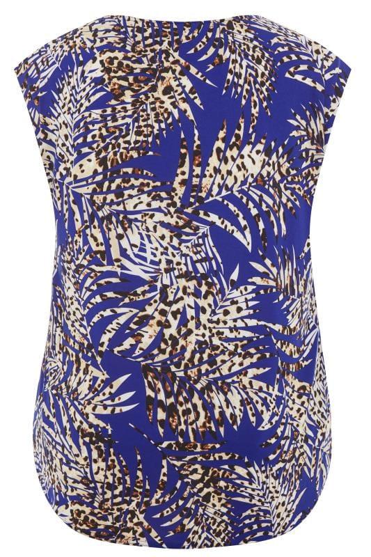 Cobalt Blue Leopard Leaf Print Top