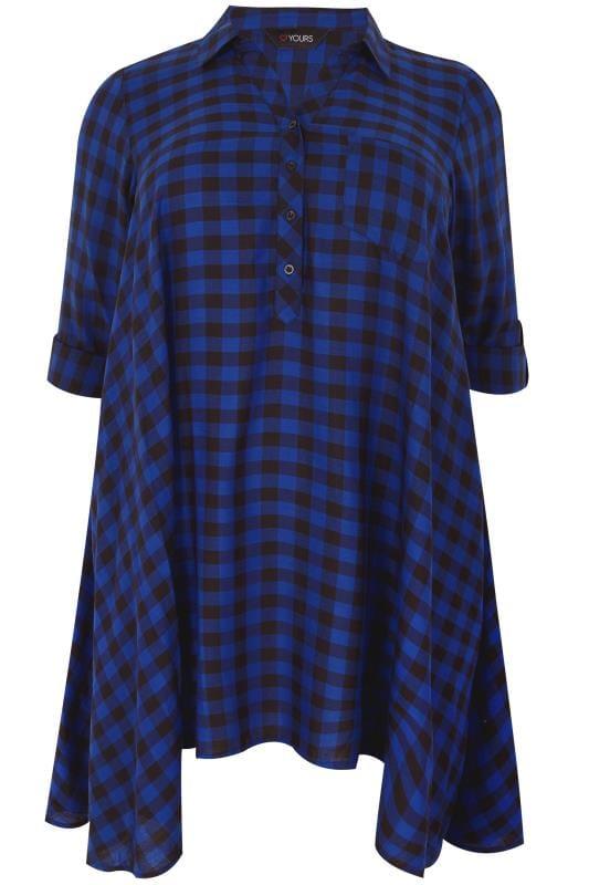 Cobalt Blue Longline Check Shirt With Hanky Hem