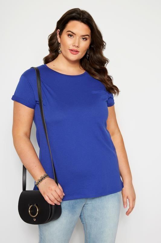 Plus Size T-Shirts Cobalt Blue Mock Pocket T-Shirt