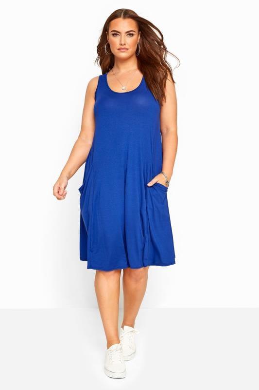 Plus-Größen Formal Jackets Cobalt Blue Sleeveless Drape Pocket Dress