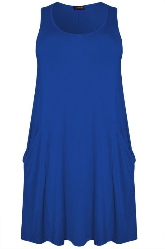 Cobalt Blue Sleeveless Drape Pocket Dress