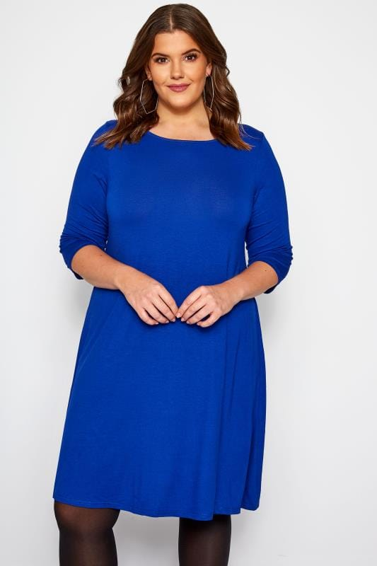 Plus Size Jersey Dresses Cobalt Blue Swing Dress