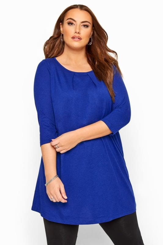 Plus Size Tunics Cobalt Blue Tunic With Pleated Front