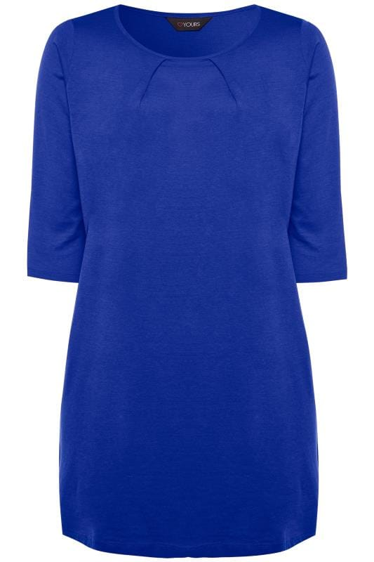 Cobalt Blue Tunic With Pleated Front