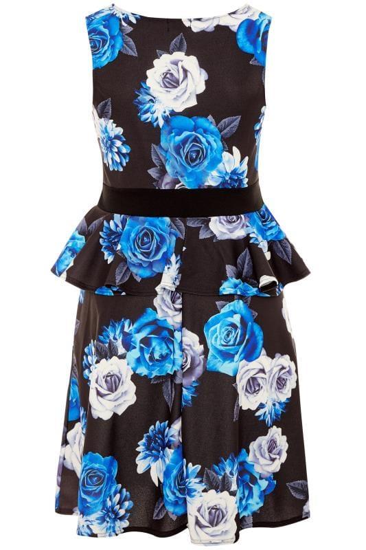 YOURS LONDON Black & Cobalt Blue Floral Peplum Dress