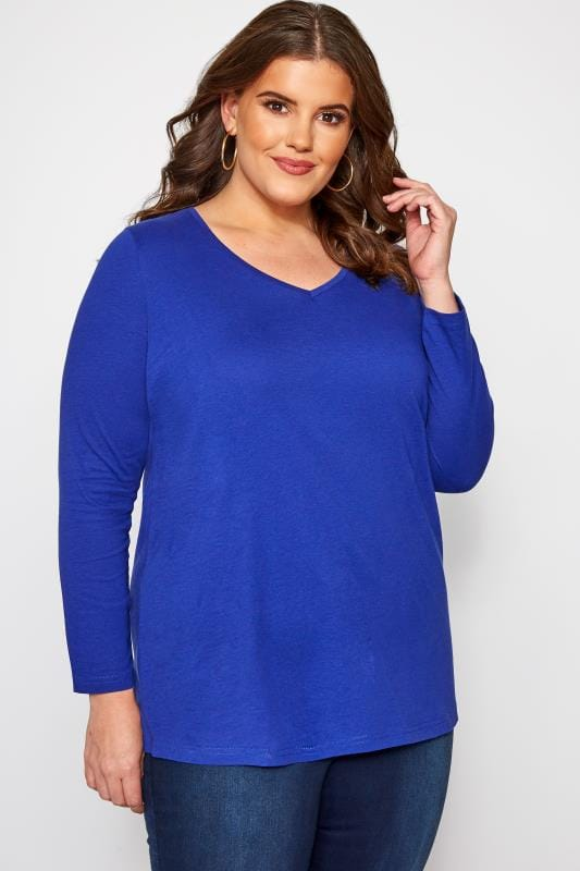 Plus Size Jersey Tops Cobalt V-Neck Long Sleeve Top