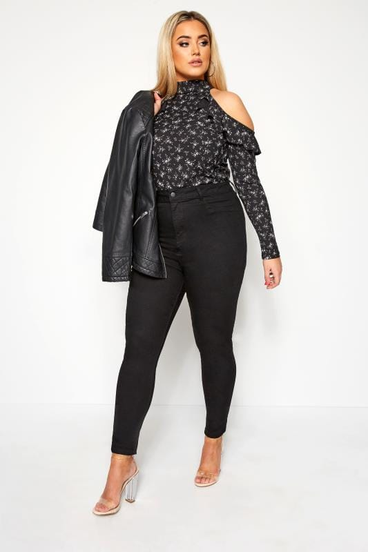 LIMITED COLLECTION Black Floral Ribbed Cold Shoulder Top