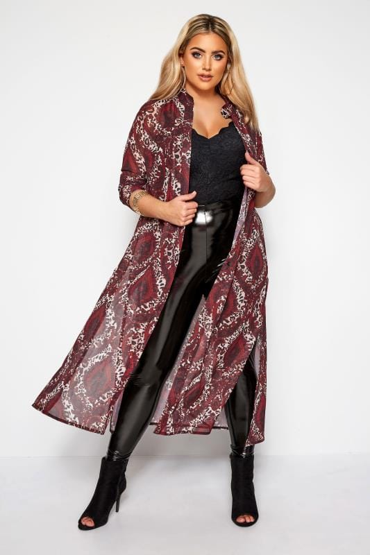 Plus Size Chiffon Blouses LIMITED COLLECTION Burgundy Mixed Print Chiffon Maxi Shirt