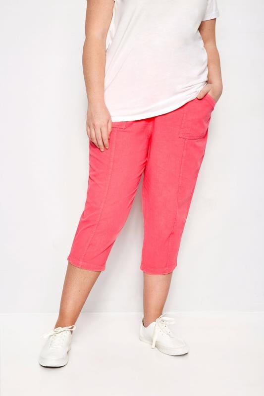 Plus Size Capri Pants Coral Cotton Cropped Trousers