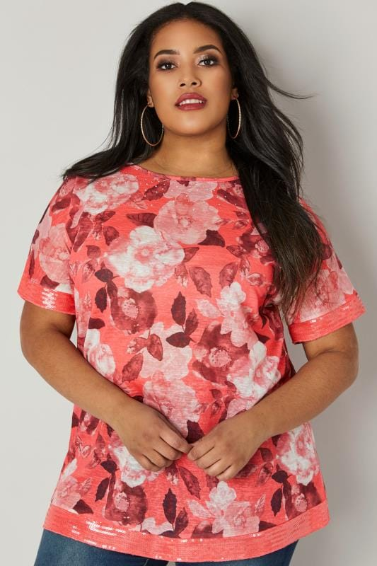 Coral Embellished Watercolour Floral T-Shirt