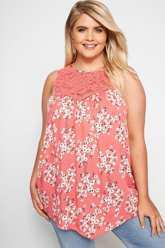 Plus Size Vests & Camis Coral Floral Lace Vest Top