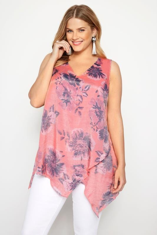 Plus Size Day Tops Coral Floral Layered Sleeveless Blouse