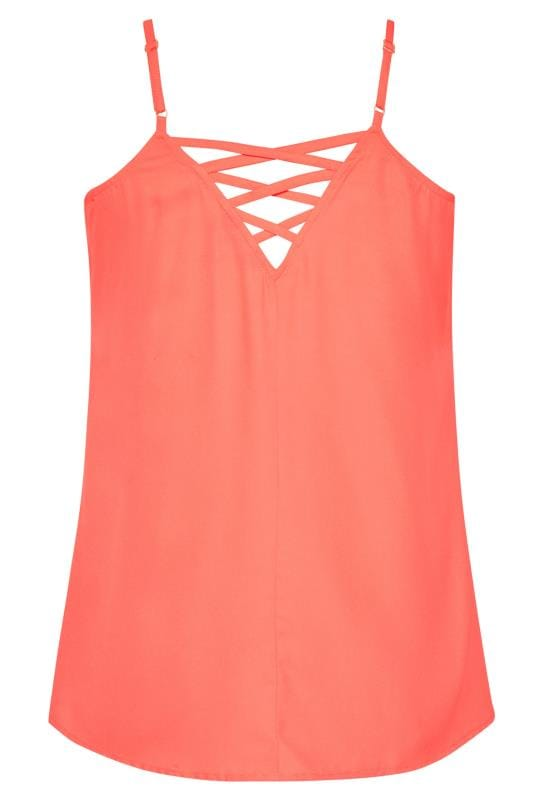 Coral Lattice Back Cami Top
