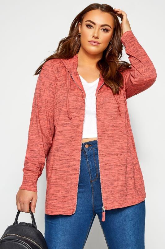 Plus Size Hoodies & Jackets Coral Marl Zip Through Hoodie