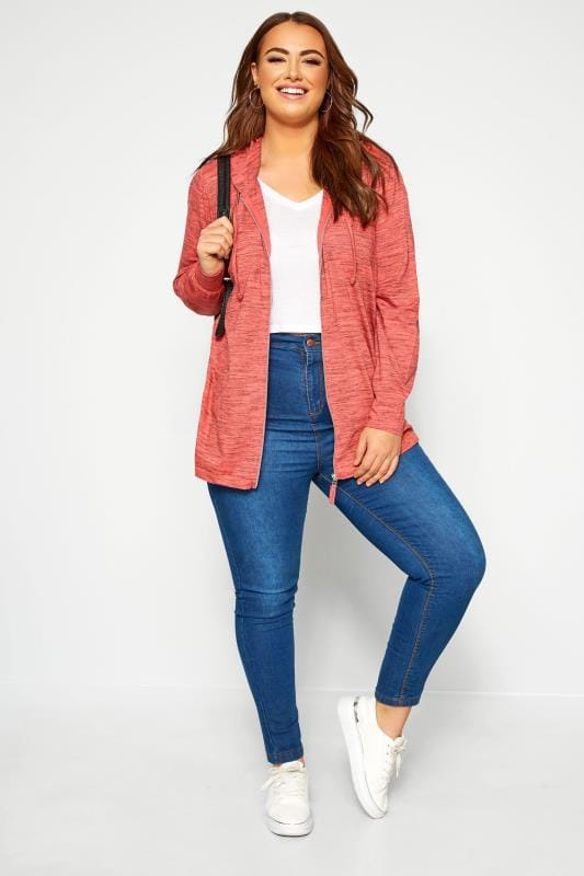 Plus Size Hoodies & Jackets Coral Marl Zip Through Hoodie