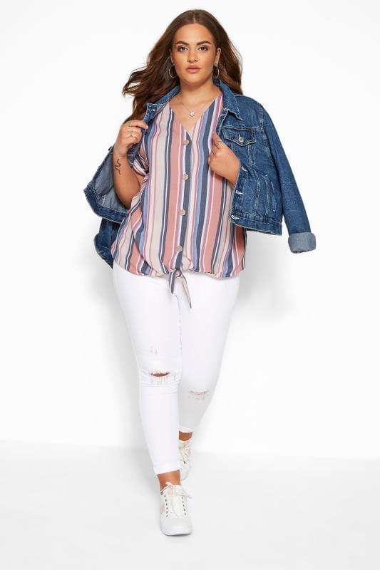 Plus Size Blouses & Shirts Coral Pink & Blue Stripe Tie Front Blouse