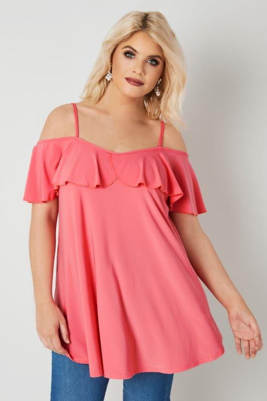 Coral Pink Slinky Jersey Frill Cold Shoulder Top