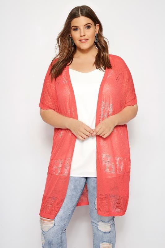 Plus Size Cardigans Coral Pointelle Knit Cardigan