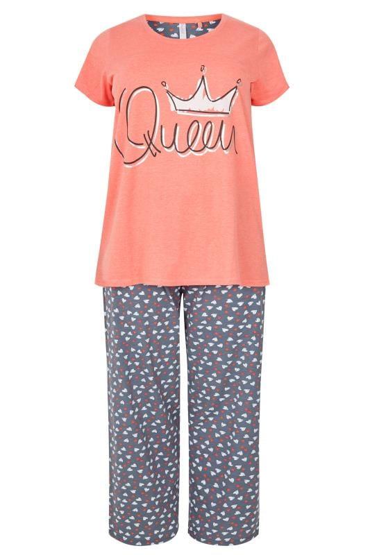 Pyjama mit Schriftzug 'Queen' - Koralle gemustert