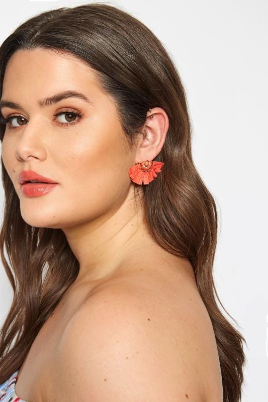 Coral Raffia Fan Earrings