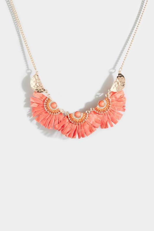 Coral Raffia Fan Necklace