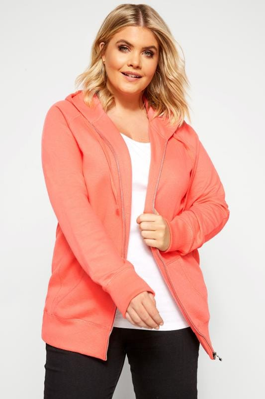 Plus Size Hoodies & Jackets Coral Ribbed Trim Zip Through Hoodie