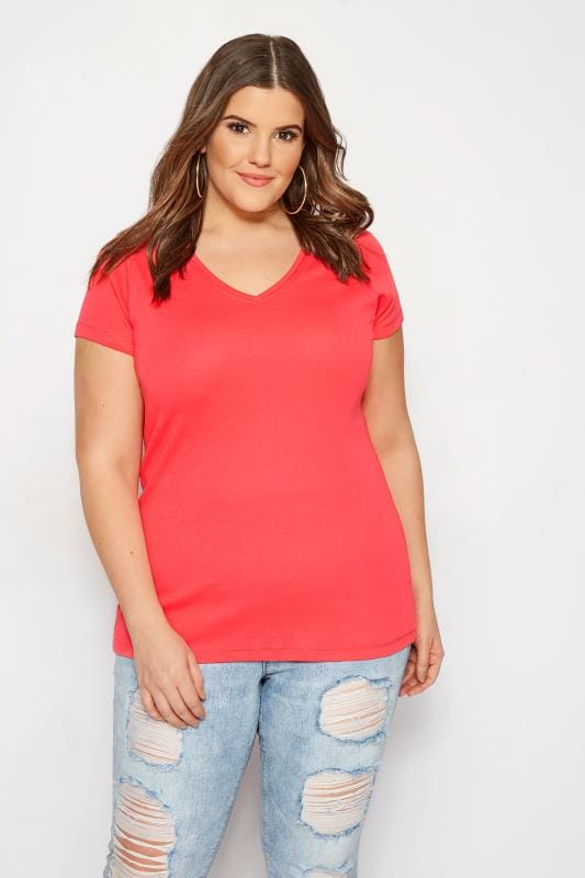 Plus Size Basic T-Shirts & Vests Coral V-Neck T-Shirt