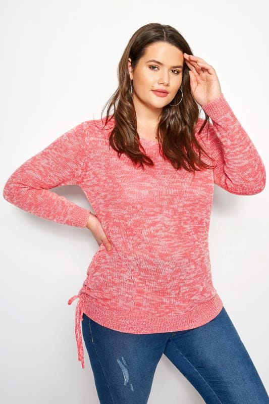 Plus Size Jumpers Coral Ruched Hem Lace Jumper