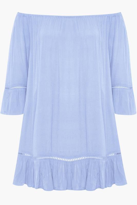 Cornflower Blue Bardot Gypsy Top