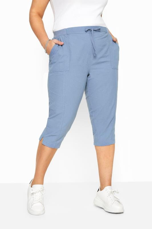 Cornflower Blue Cool Cotton Cropped Trousers