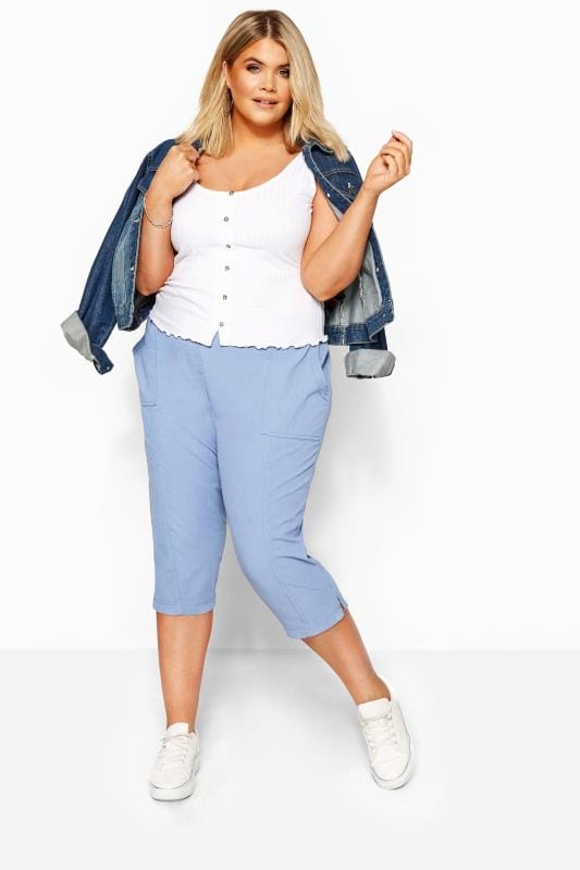 Plus Size Cropped Trousers Cornflower Blue Cool Cotton Cropped Trousers