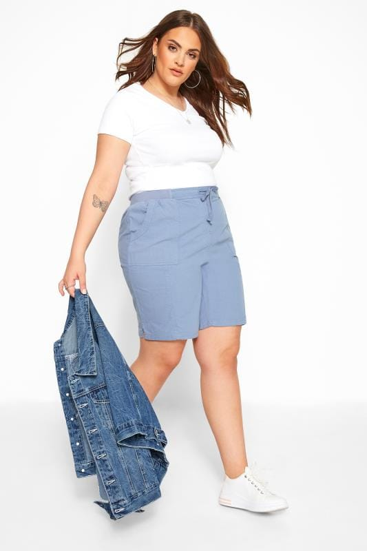 Plus Size Cool Cotton Shorts Cornflower Blue Cool Cotton Pull On Shorts